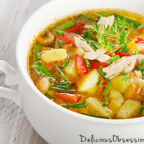 Classic Chicken and Vegetable Soup Recipe // deliciousobsessions.com