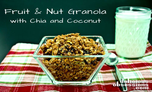 Homemade Fruit and Nut Granola with Chia Seeds and Coconut