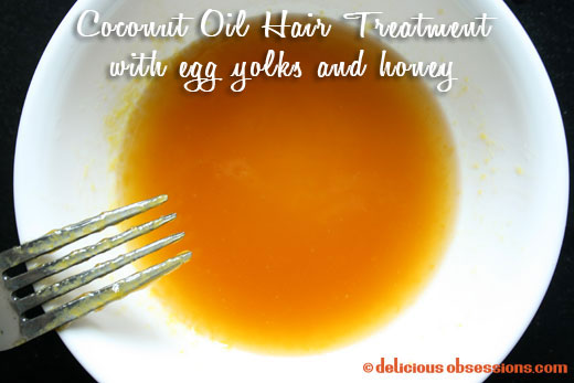 Coconut Oil Hair Treatment with Egg Yolks and Honey