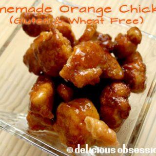 Homemade orange chicken recipe - tangy orange sauce with crispy fried chicken