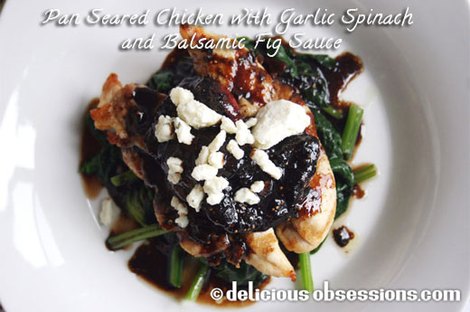 Pan Seared Chicken with Garlic Spinach and Balsamic Fig Sauce Recipe :: Gluten, Grain Free, AIP/Autoimmune Option