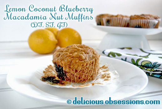 Lemon Coconut Blueberry Macadamia Nut Muffins (Dairy, Sugar, Grain, and Gluten-Free)