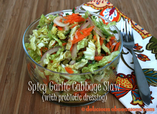 Spicy Garlic Cabbage and Carrot Slaw with Probiotic Dressing Recipe (gluten and dairy free with autoimmune option)