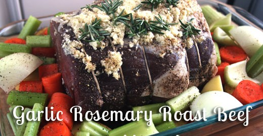 Grass-fed Garlic Rosemary Roast Beef Recipe | www.deliciousobsessions.com