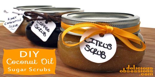 Easy Coconut Oil Sugar Scrubs | deliciousobsessions.com