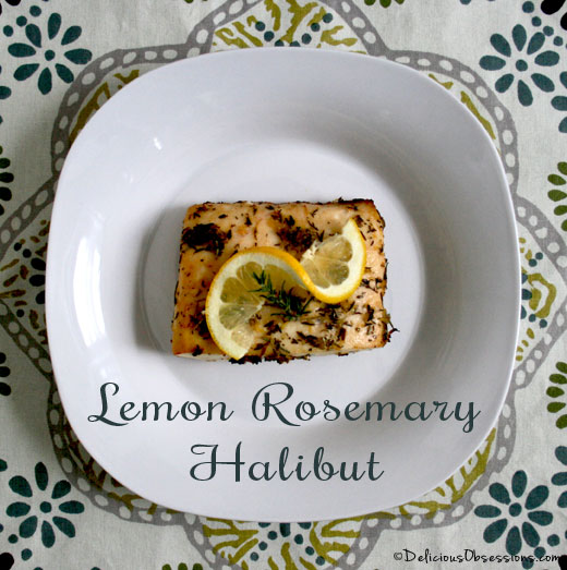 Lemon Rosemary Alaskan Halibut Recipe | deliciousobsessions.com