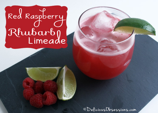 Red Raspberry Rhubarb Limeade Recipe | deliciousobsessions.com