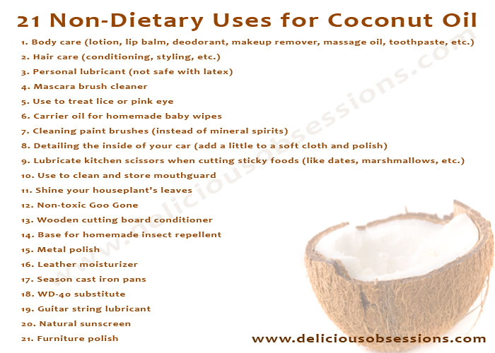 21 Non-Dietary Uses for Coconut Oil | deliciousobsessions.com