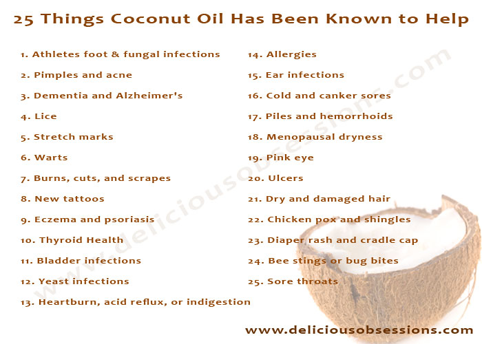 25 Things Coconut Oil Has Been Known to Help | www.deliciousobsessions.com