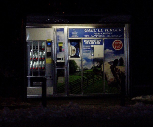 Raw milk vending machines, such as this one in France, are popping up all over Europe. Photo courtesy of cernlove.org