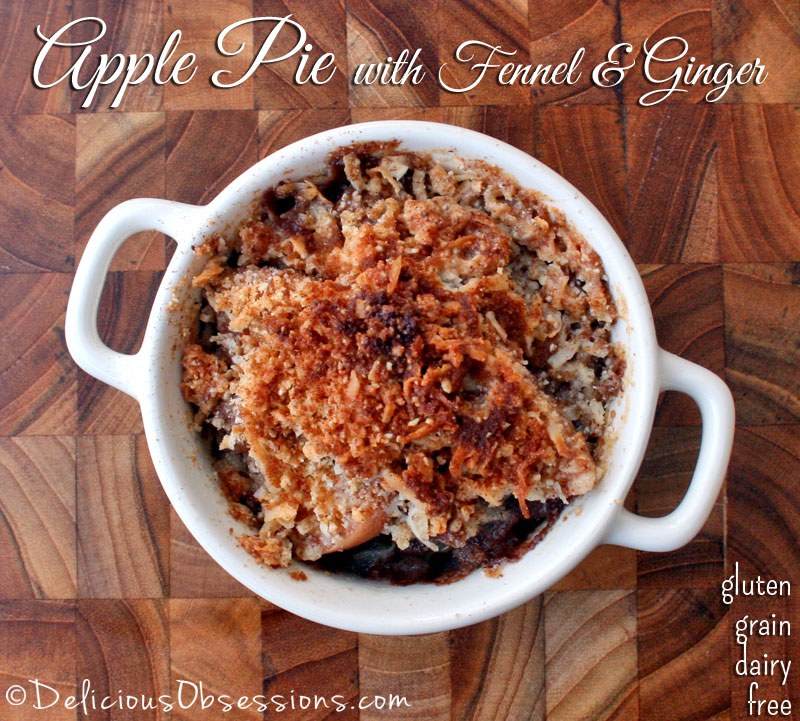 Deep Dish Apple Pie with Fennel and Ginger (gluten, grain, and dairy free) // deliciousobsessions.com