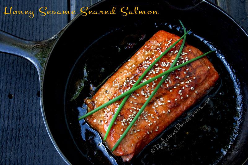 Honey Sesame Seared Salmon Recipe | deliciousobsessions.com