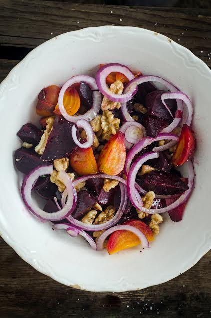Roasted Beet and Walnut Salad with Spiced Kombucha Vinaigrette + The Nourished Kitchen Cookbook Review