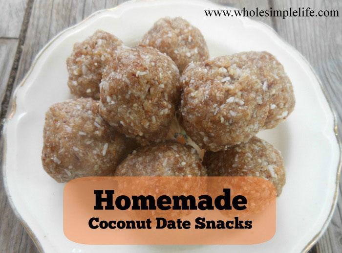 Homemade Coconut Date Snacks (grain, gluten, dairy free)