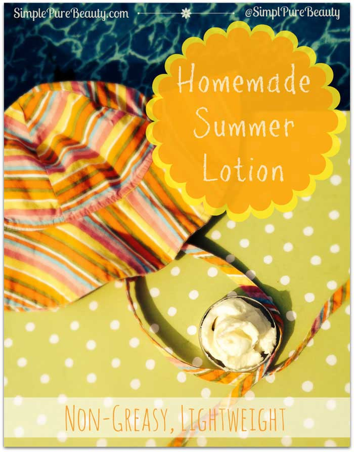 Lightweight, Non-Greasy Homemade Lotion Recipe: Perfect for Summer! // deliciousobsessions.com #diy #lotion #summer #coconutoil