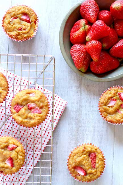Strawberry Banana Muffins (gluten, grain, dairy, and nut free) // deliciousobsessions.com