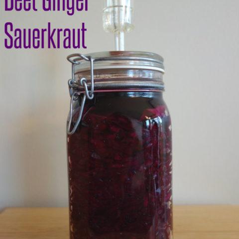 Lactofermented Beet Ginger Sauerkraut // deliciousobsessions.com
