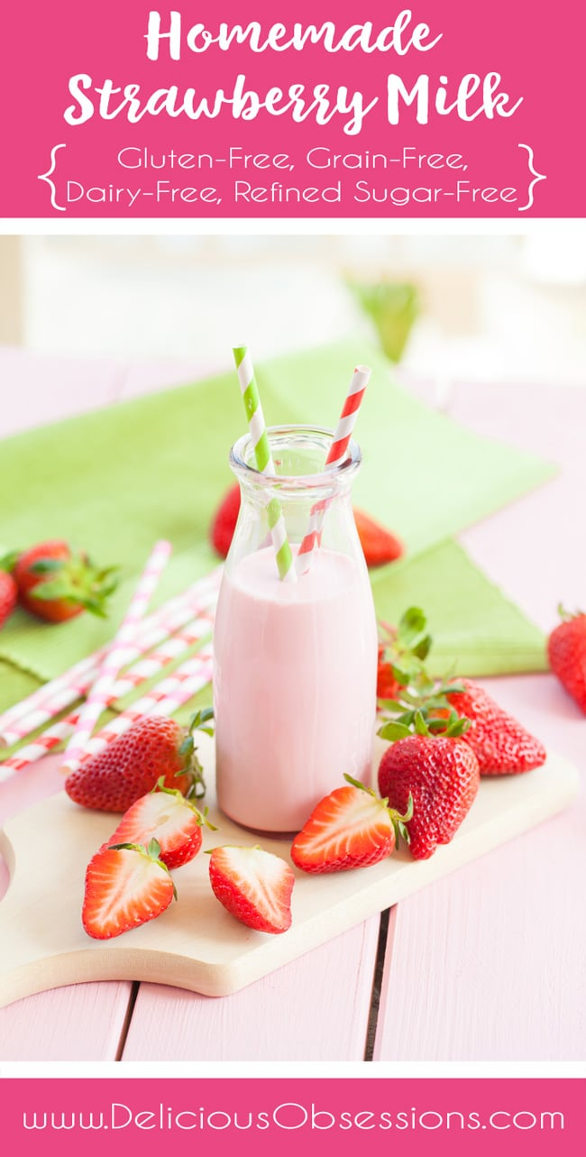 Homemade Strawberry Milk :: Gluten-Free, Grain-Free, Dairy-Free, Refined Sugar-Free // deliciousobsessions.com