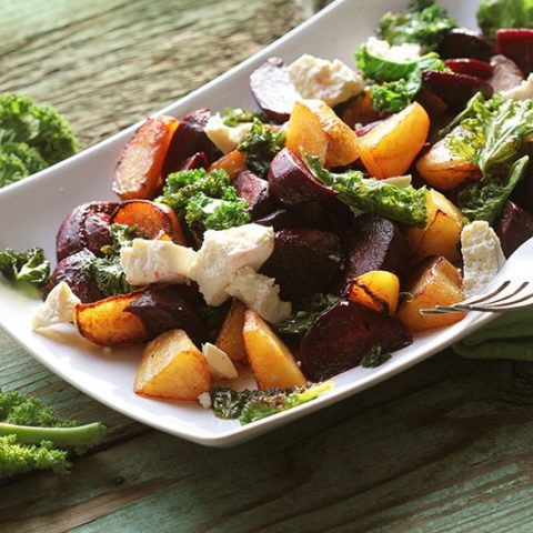 Festive Roasted Beet and Kale Salad :: Gluten-Free, Grain-Free, Dairy-Free Option // DeliciousObsessions.com