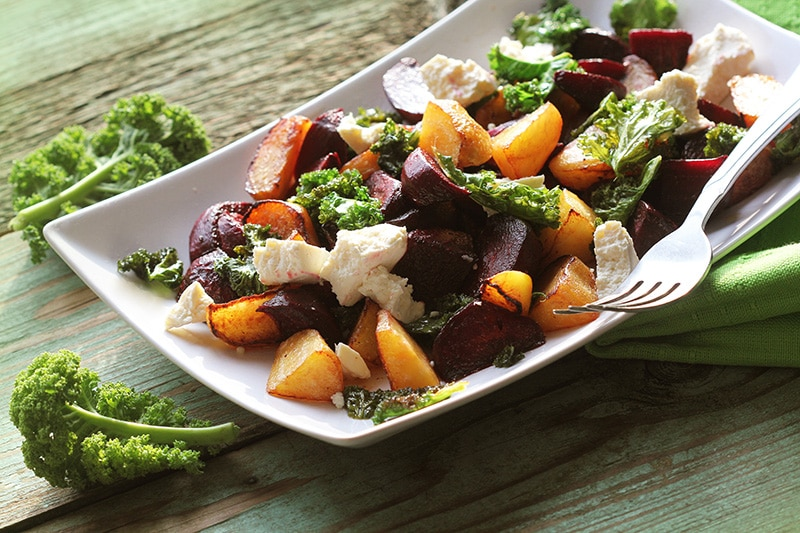 Festive Roasted Beet and Kale Salad :: Gluten-Free, Grain-Free, Dairy-Free Option