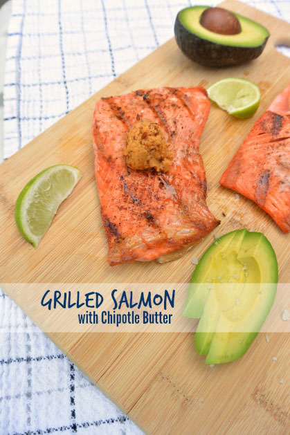 Grilled Salmon with Chipotle Butter // deliciousobsessions.com
