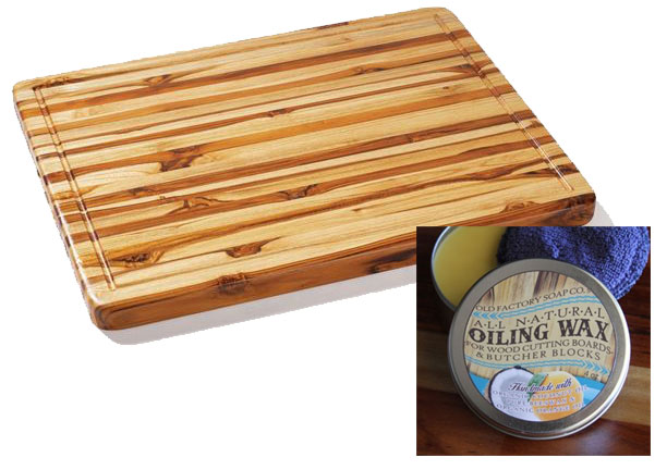 1 Winner of a Proteak Rectangle Edge Grain Cutting Board with Hand Grip and Juice Canal (ARV $101.64) and Proteak Natural Cutting Board Wax Tin (ARV $19.99) // deliciousobsessions.com