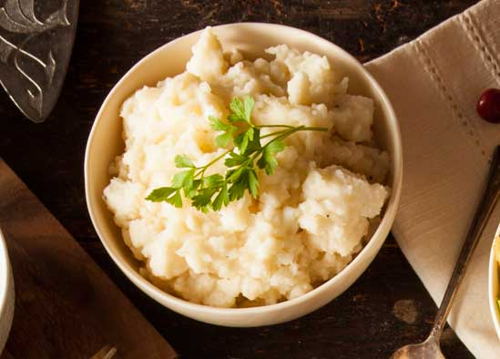 Healthy Mashed Potatoes, A Holiday Menu Makeover: Simple Swaps for a Healthier Family Dinner // deliciousobsessions.com