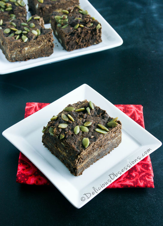 #Pumpkin Brownies :: #GrainFree, #GlutenFree, and #DairyFree, #Autoimmune #Paleo Option // deliciousobsessions.com