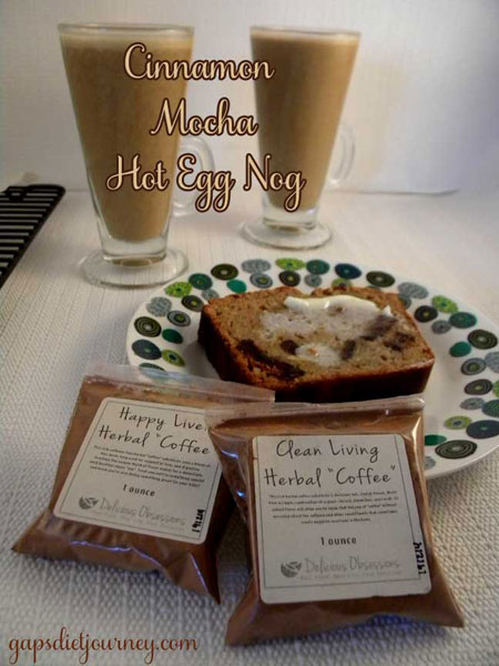 "Delicious Obsessions Herbal ""Coffee"" Review + Cinnamon Mocha Hot Egg Nog Recipe // deliciousobsessions.com"