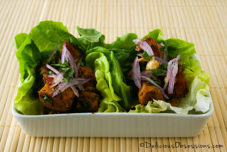 Cashew Chicken Lettuce Wraps :: Gluten-Free, Grain-Free, Dairy-Free // DeliciousObsessions.com