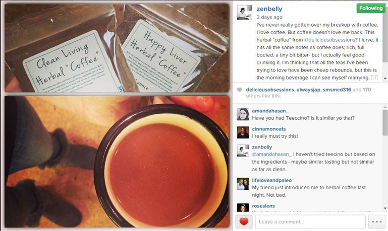 Herbal Coffee Testimonials (and sightings from around the Web!) // deliciousobsesssions.com