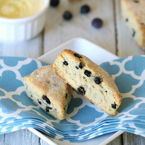 Grain-Free Blueberry Lemon Scones :: Dairy-Free Option, Paleo/Primal // deliciousobsessions.com