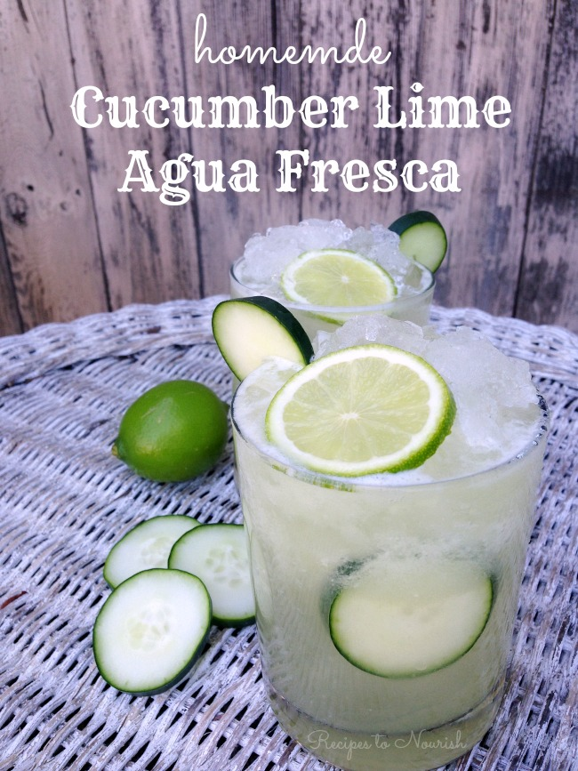 Cucumber Lime Agua Fresca - Get the recipe --> deliciousobsessions.com