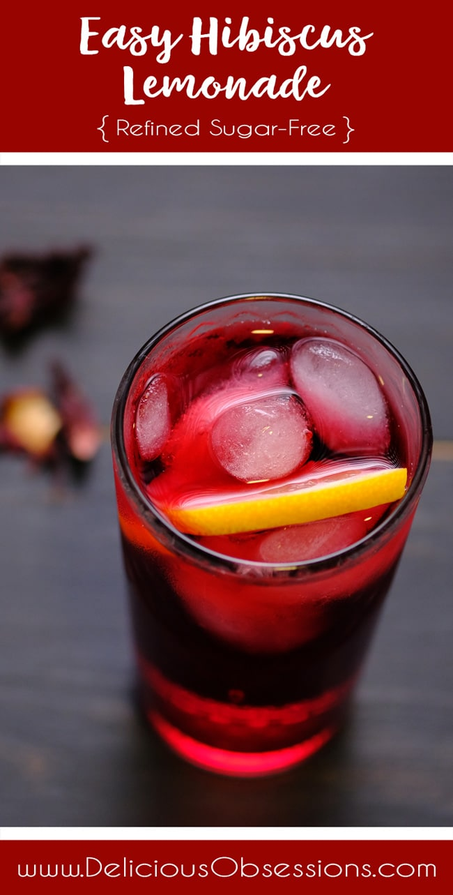 Easy Hibiscus Lemonade :: Gluten-Free, Dairy-Free, Refined Sugar-Free // deliciousobsessions.com