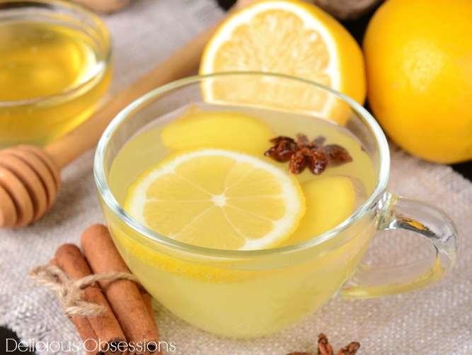 Honey lemon ginger tea for flu and cold care.