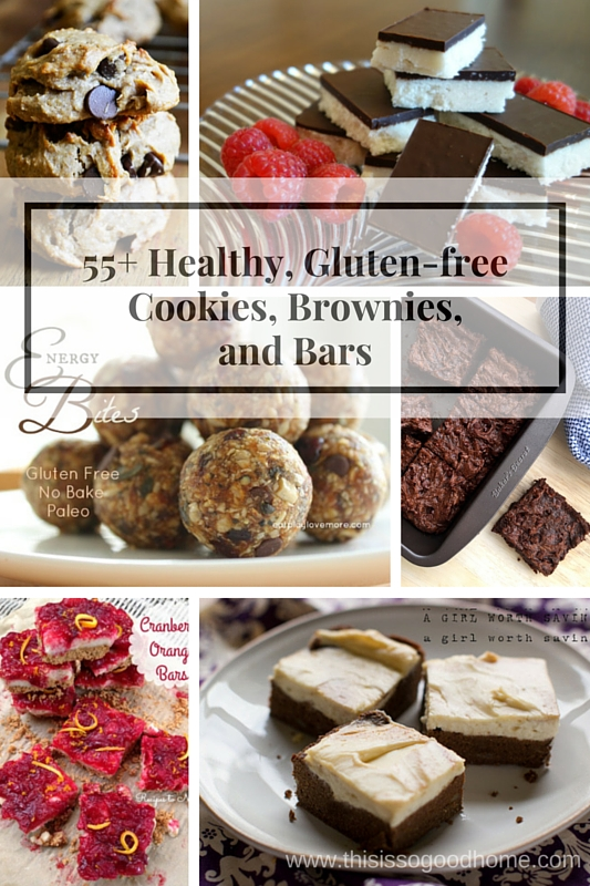 55+ Healthy, Gluten-free Cookies, Brownies, and Bars / deliciousobsessions.com