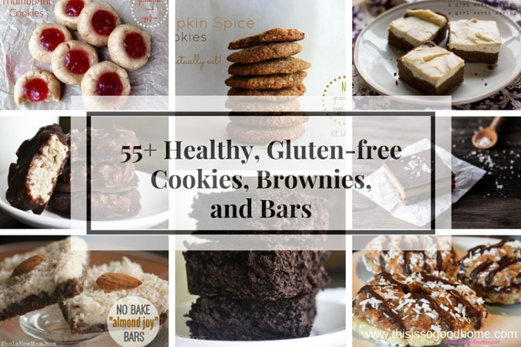 55+ Healthy, Gluten-free Cookies, Brownies, and Bars // deliciousobsessions.com