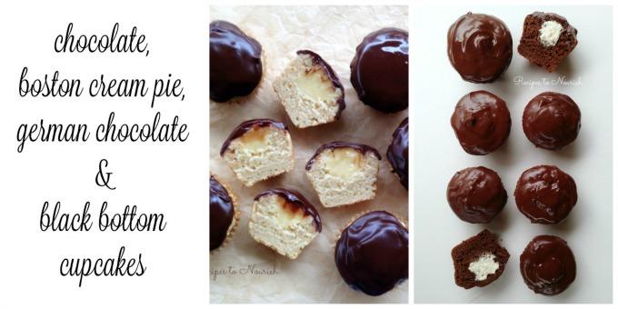 Chocolate, Boston Cream Pie, German Chocolate & Black Bottom Cupcakes | Delicious Obsessions