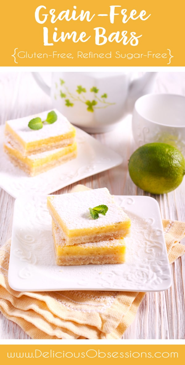 Grain-Free Lime Bars :: Gluten-Free, Refined Sugar-Free // deliciousobsessions.com