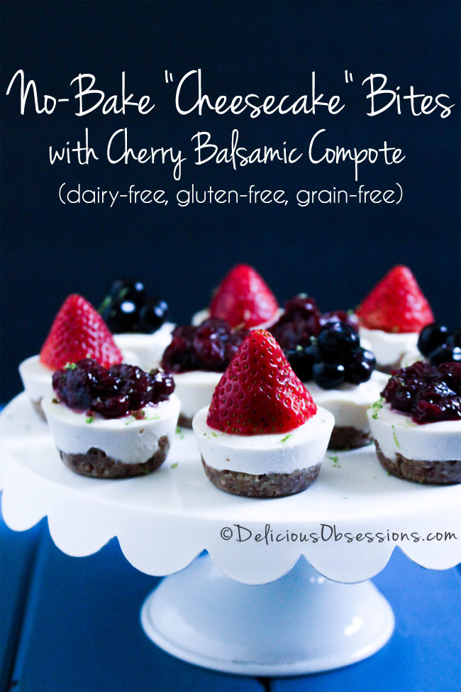 "No-Bake ""Cheesecake"" Bites with Cherry Balsamic Compote :: Dairy-Free, Gluten-Free, Grain-Free // deliciousobsessions.com"