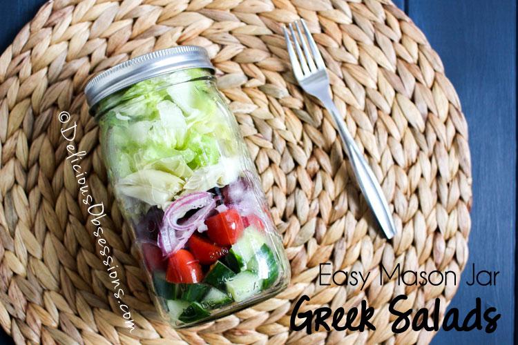 Easy Mason Jar Greek Salad Recipe :: Gluten-Free, Grain-Free, Dairy-Free