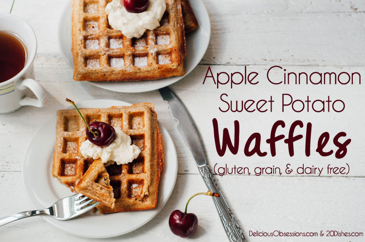 Apple Cinnamon Sweet Potato Waffles (gluten, grain, and dairy free) + My NEW Line of Gluten-Free Flours! // deliciousobsessions.com and 20dishes.com