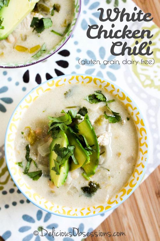 White Chicken Chili :: Gluten-Free, Grain-Free, Dairy-Free // deliciousobsessions.com