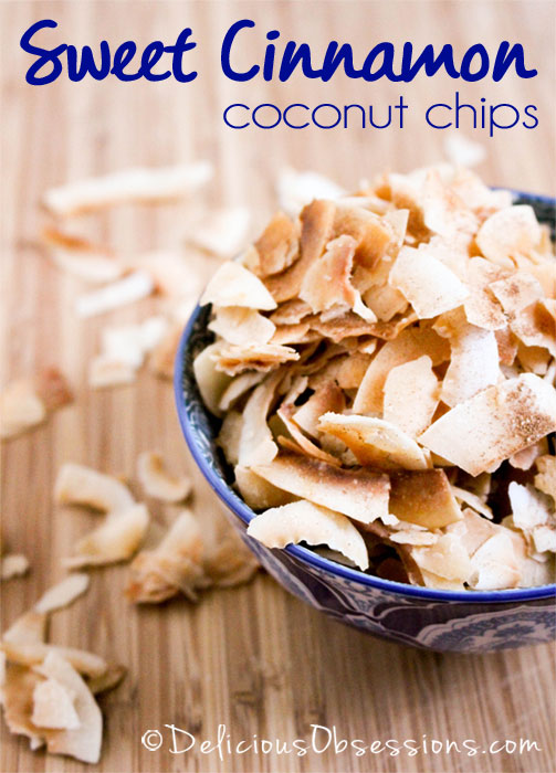 Sweet Cinnamon Coconut Chips :: Gluten, Grain, Dairy, and Refined Sugar Free // deliciousobsessions.com