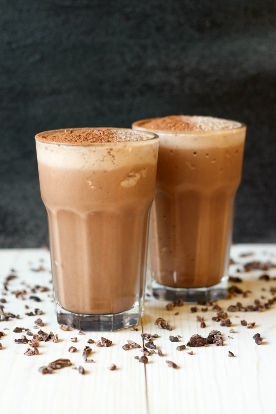 Healthy Chocolate Peanut Butter Protein Shake // deliciousobsessions.com