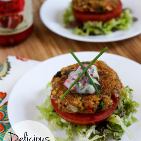 Roasted Red Pepper and Artichoke Lentil Burgers with Cucumber Herb Raita :: Gluten-Free, Dairy-Free, Vegan