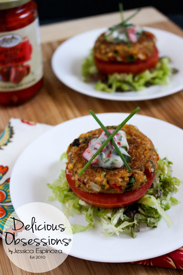 Roasted Red Pepper and Artichoke Lentil Burgers with Cucumber Herb Raita :: Gluten-Free, Dairy-Free, Vegan // deliciousobsessions.com