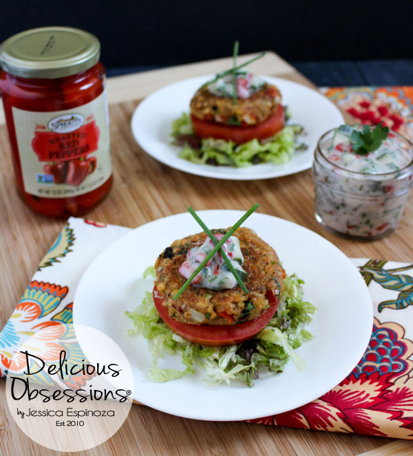 Roasted Red Pepper and Artichoke Lentil Burgers with Cucumber Herb Raita :: Gluten-Free, Dairy-Free, Vegan