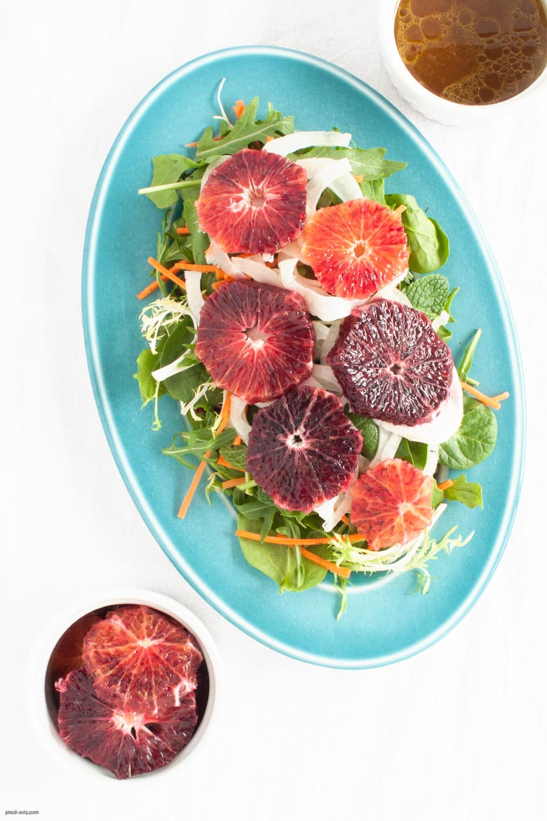 A winter salad to bright any gloomy day with blood oranges, carrots, and pickled fennel. | Blood Orange and Pickled Fennel Salad