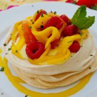 Saffron Pavlova with Orange Chai Spiced Crème Patisserie and Exotic Fruits :: Gluten-Free, Grain-Free